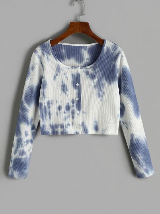 ladies Tie Dye Ribbed Cropped T Shirt - LIGHT SLATE BLUE M