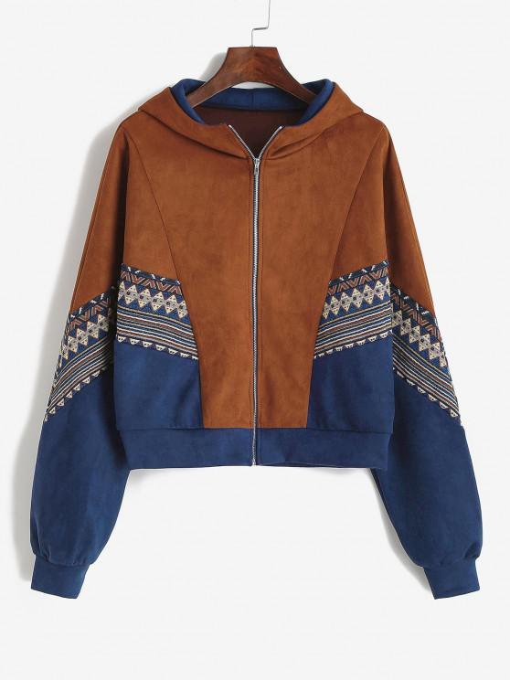 buy ZAFUL Tribal Patchwork Faux Suede Hooded Jacket - SEPIA M