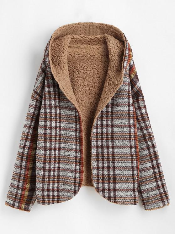 best Hooded Reversible Open Front Fluffy Teddy Coat - MULTI XL