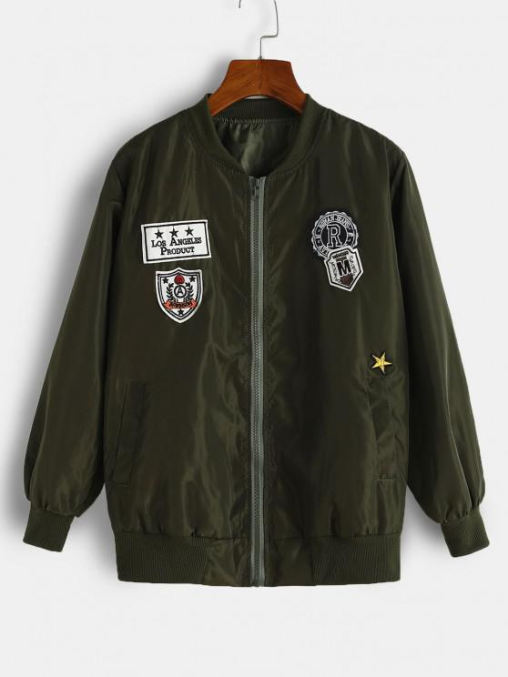 women's Graphic Embroidered Applique Detail Jacket - DEEP GREEN L
