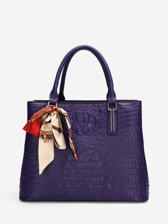 online Embossed Printed Scarf Square Handbag - PURPLE
