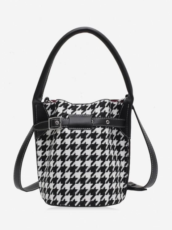 chic Retro Houndstooth Printed Bucket Bag - BLACK