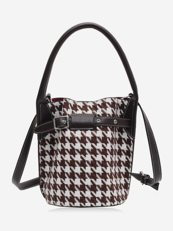 Retro Houndstooth Printed Bucket Bag - بنى