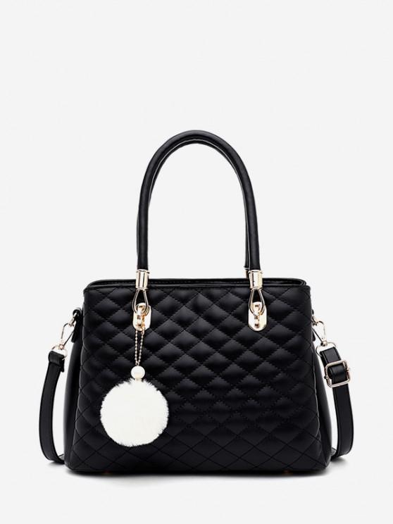women's Pom Pom Pendant Quilted Handbag - BLACK