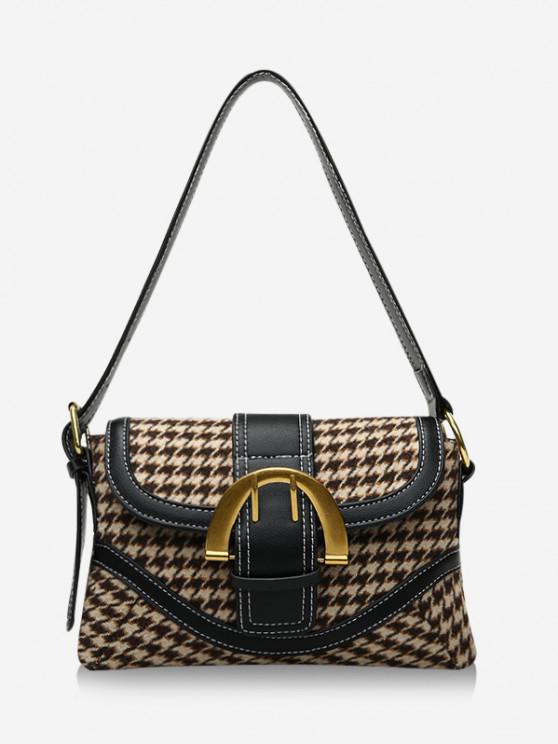 women Retro Houndstooth Print Shoulder Bag - KHAKI