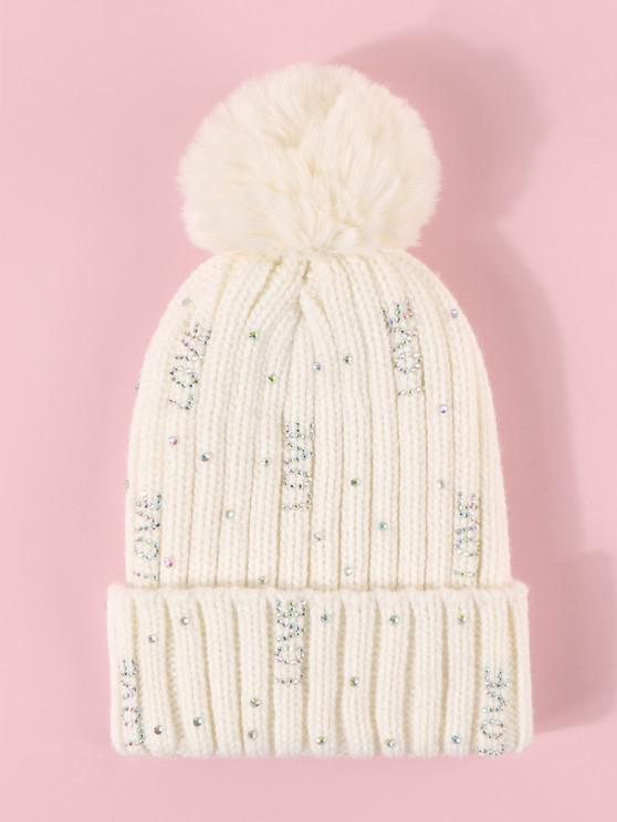 Rhinestone Letter Knitted Bubble Hat - حليب ابيض