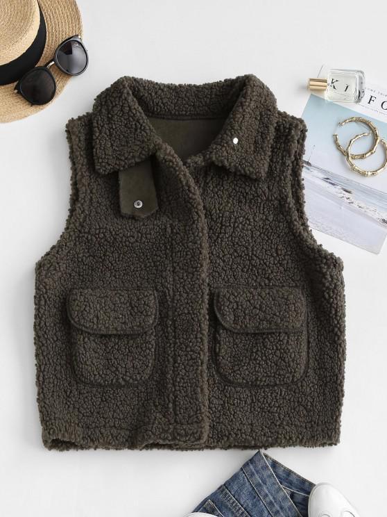 Faux Fur Pockets Teddy Gilet - دب بنى L