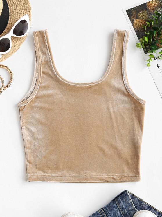 shops U Neck Velvet Fabric Crop Tank Top - LIGHT COFFEE M