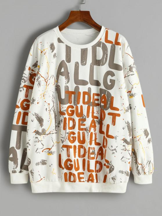Letter Scrawl Drop Shoulder Loose Sweatshirt - أبيض L
