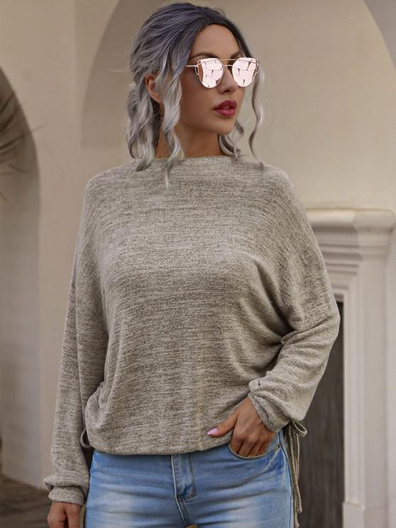 fashion Drop Shoulder Knitted Tee with Cinched - COFFEE XL