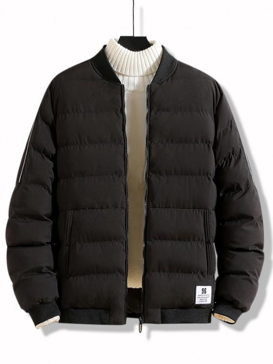unique Letter Applique Zip Up Padded Jacket - BLACK XS
