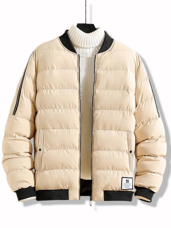 Letter Applique Zip Up Padded Jacket - كاكي M
