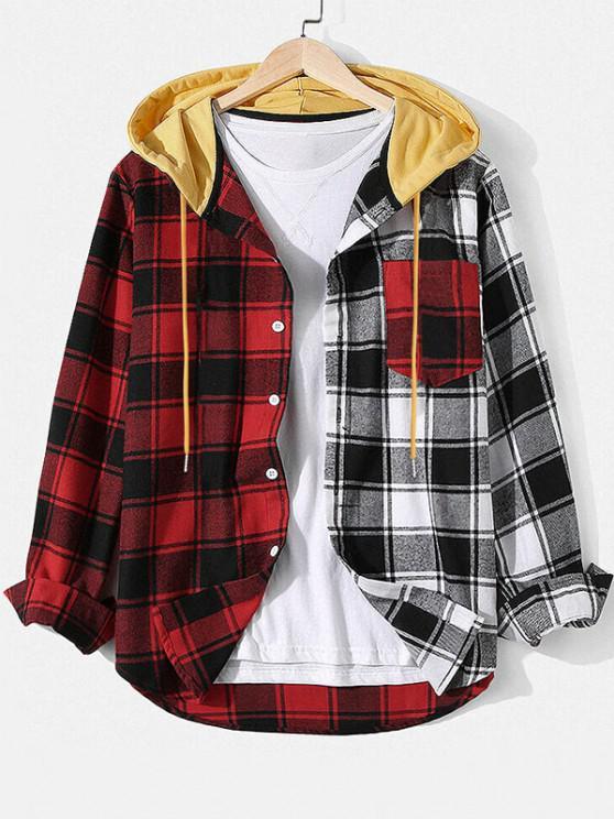 Colorblock Plaid Hooded Shirt Jacket - أحمر 2XL