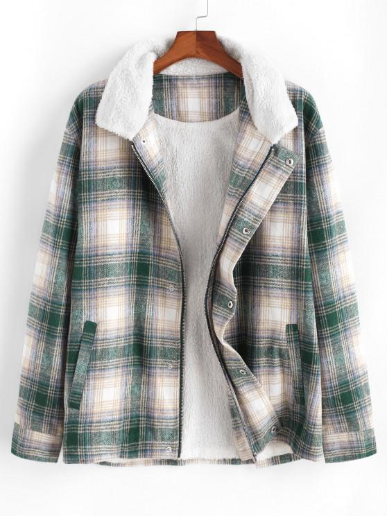 Fluffy Lined Plaid Shirt Jacket - متعدد 2XL