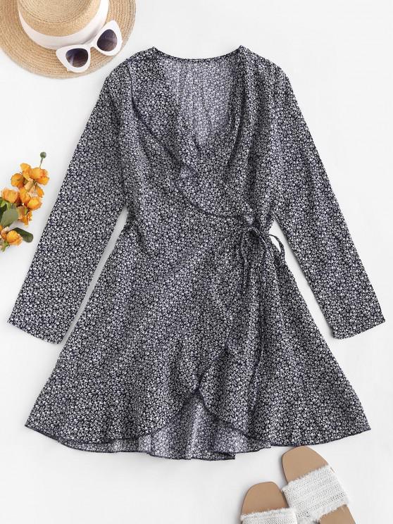 best Ditsy Floral Ruffles Long Sleeve Wrap Dress - DEEP BLUE XL