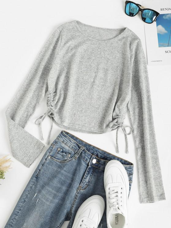 fancy Heather Knitted Cinched Crop Top - LIGHT GRAY M
