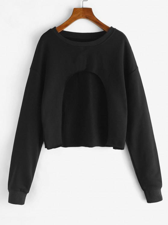 buy Cutout Front Cropped Sweatshirt - MIDNIGHT M