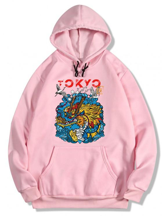 Dragon Wave Print Oriental Fleece Hoodie - خنزير وردي 2XL