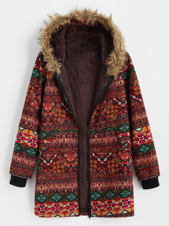 shops Fur Collar Fleece Lined Tribal Print Coat - RED S