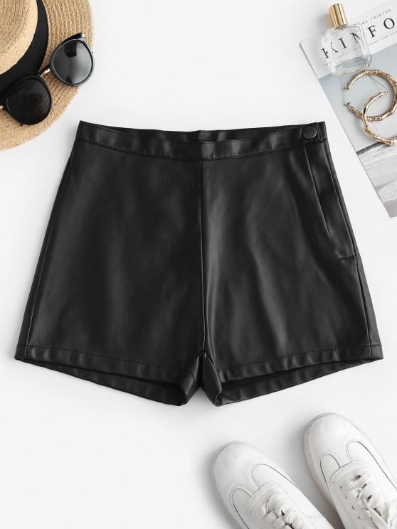 outfit Faux Leather High Waisted Hot Shorts - BLACK M