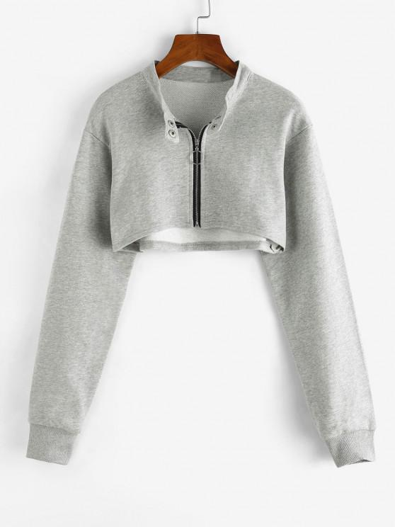 Cropped Zip Up Sweatshirt - رمادي فاتح M