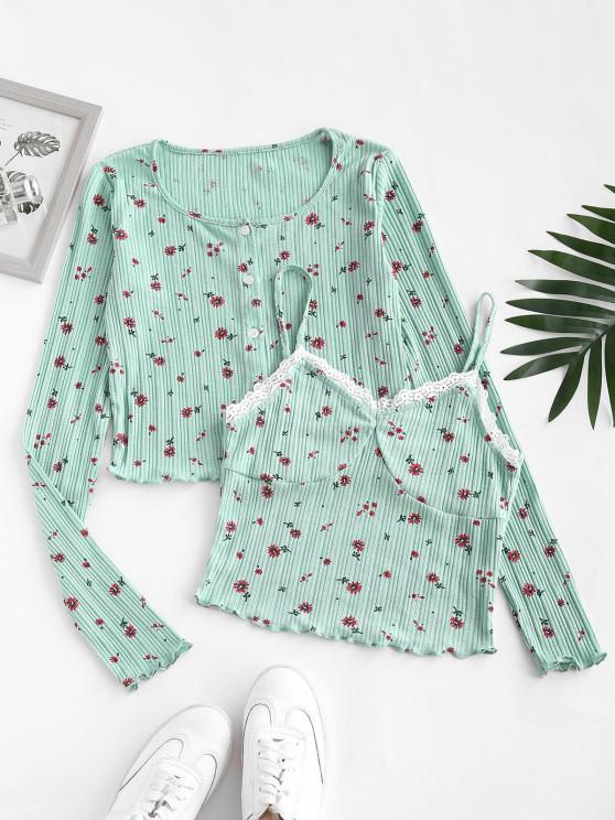 unique Button Up Ditsy Floral Lace Trim Top Set - GREEN M