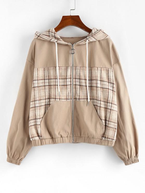 affordable ZAFUL Plaid Drop Shoulder Hooded Pocket Jacket - LIGHT KHAKI XL