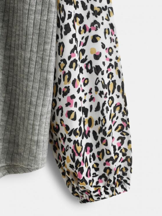 Leopard Insert Drop Shoulder Button Up Top - Light Gray M   ZAFUL