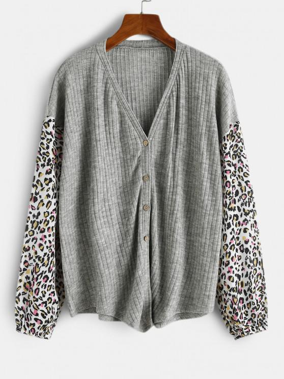 sale Leopard Insert Drop Shoulder Button Up Top - LIGHT GRAY S