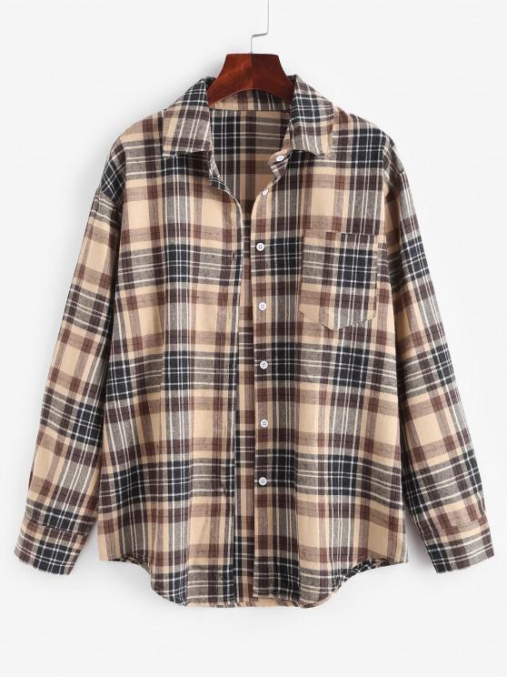 Plaid Pocket Boyfriend Shirt - القهوة الخفيفة M