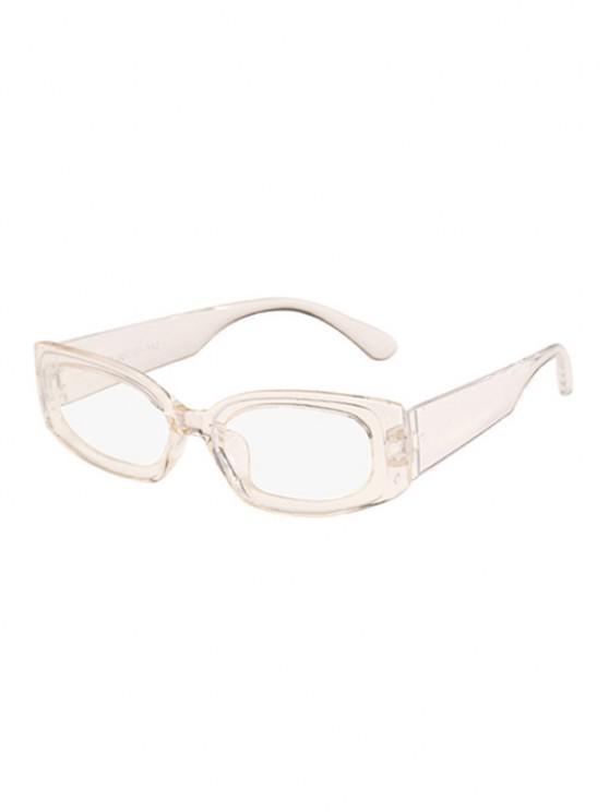 trendy Rectangle Wide Temple Sunglasses - WHITE