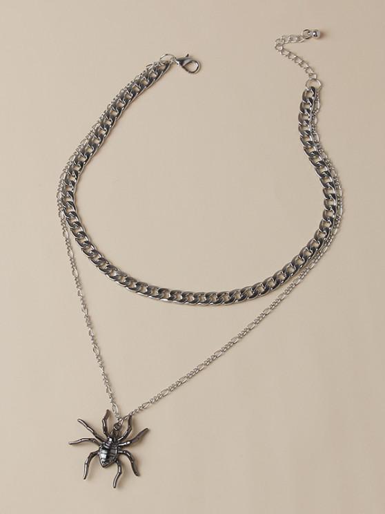unique Boyish Spider Pendant Layered Necklace - SILVER