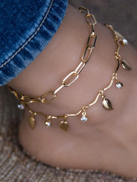 best 2Pcs Leaf Rhinestone Chain Anklet Set - GOLDEN