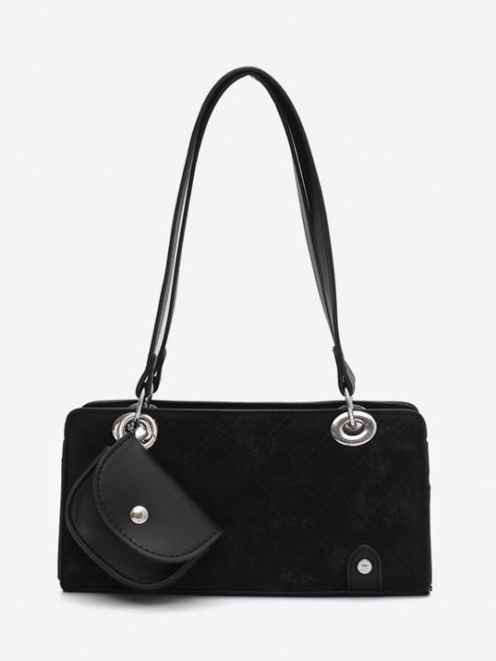 Stitching Coin Bag Pendant Shoulder Bag - أسود