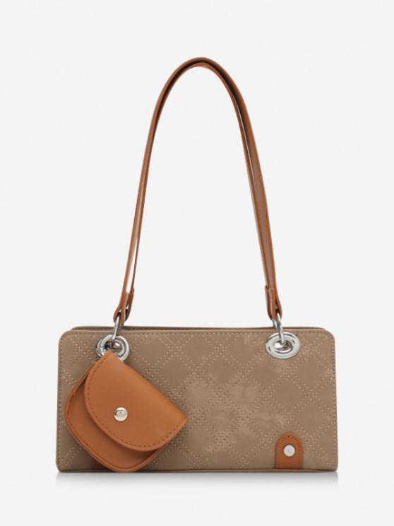 trendy Stitching Coin Bag Pendant Shoulder Bag - KHAKI