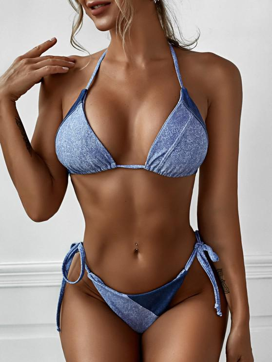 sale ZAFUL Denim Color String Tanga Bikini Swimwear - LIGHT BLUE L