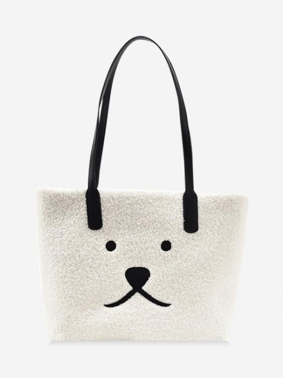 affordable Animal Print Sherpa Fleece Shoulder Bag - WHITE