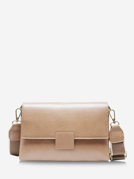 fancy Rectangle Cover Wide Strap Crossbody Bag - KHAKI