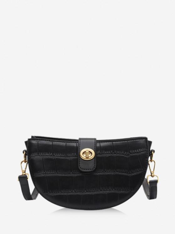 womens Semicircle Textured Crossbody Bag - BLACK