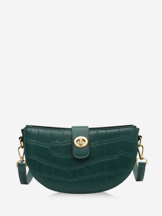 women Semicircle Textured Crossbody Bag - DEEP GREEN