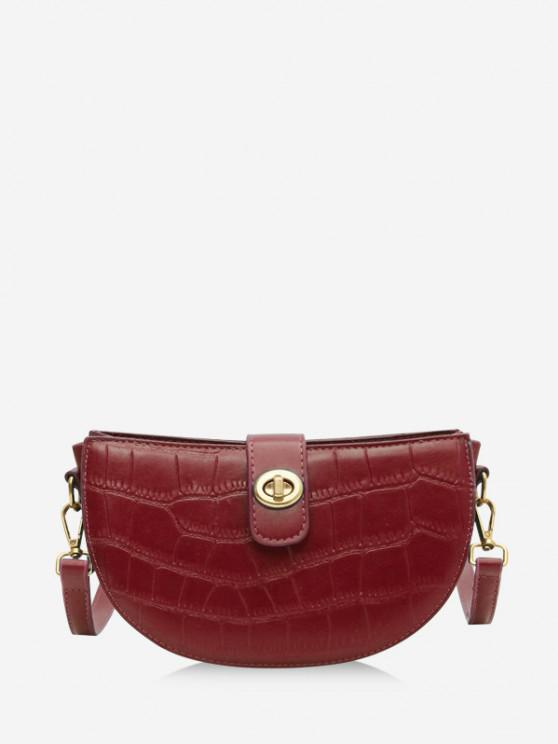 women's Semicircle Textured Crossbody Bag - RED