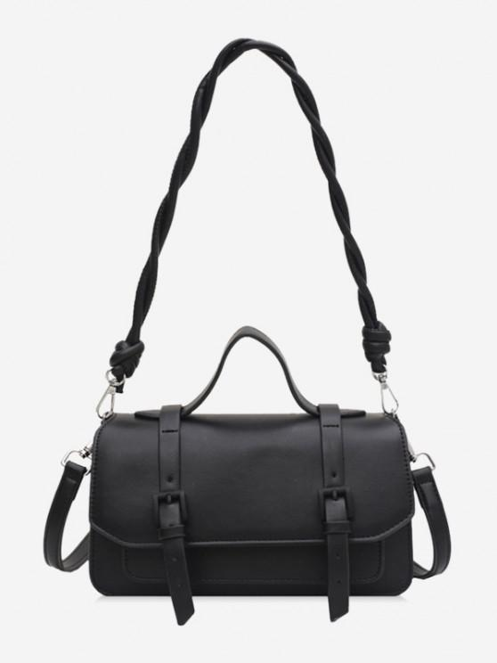 ladies Twist Strap Crossbody Messenger Bag - BLACK