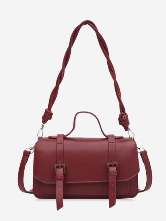 online Twist Strap Crossbody Messenger Bag - RED WINE