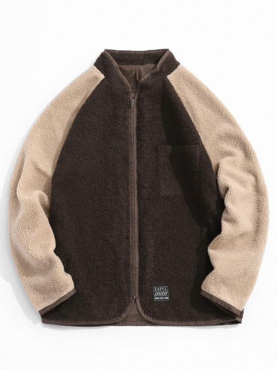 latest Colorblock Raglan Sleeve Teddy Jacket - DEEP COFFEE M