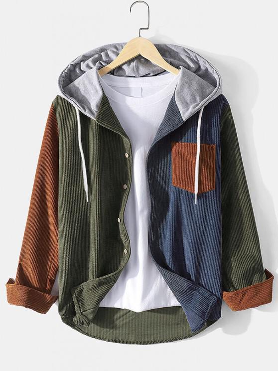 Veste à Capuche en Blocs de Couleurs Patch avec Poche en Velours Côtelé - Multi XL