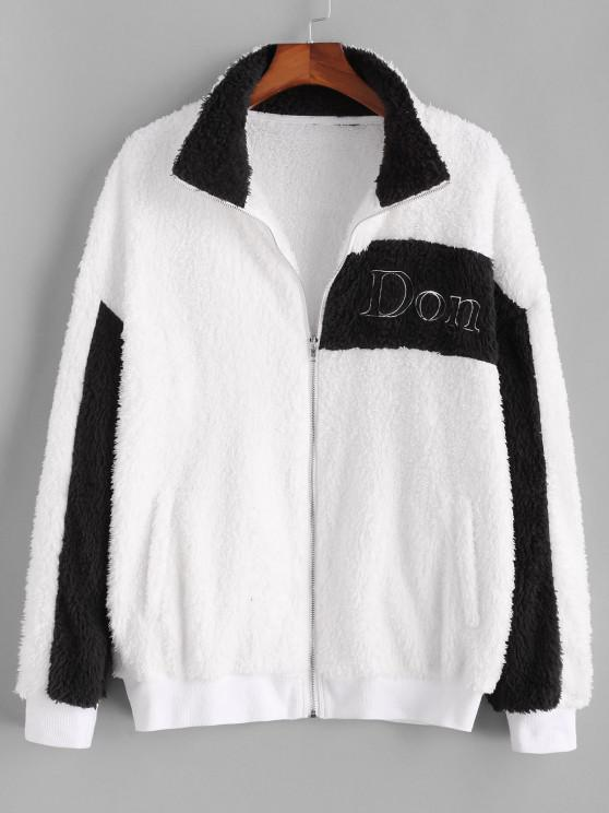 Don't Embroidery Two Tone Fluffy Jacket - أبيض S