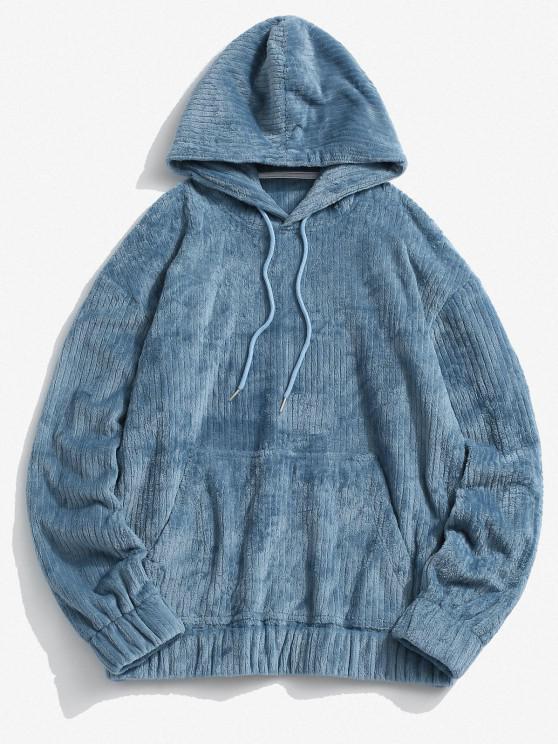 fashion Front Pocket Letter Patch Plush Hoodie - BLUE L