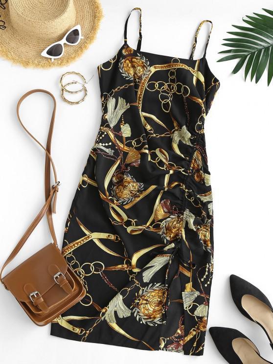 3D Chain Print Cinched Cami Mini Dress - أسود L