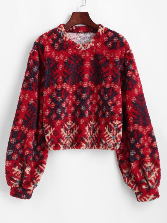 Felpa con Stampa Fiocco di Neve di Natale con Maniche a Sbuffo - Rosso XL