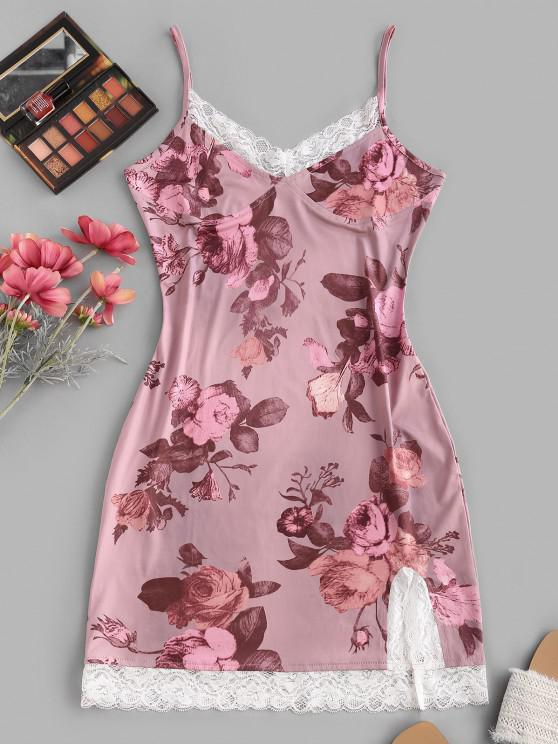 fancy Lace Insert Flower Print Slit Bodycon Dress - LIGHT PINK S